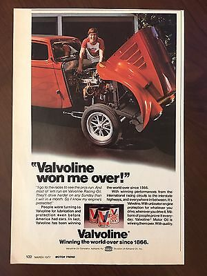 Vintage 1977 Original Print Ad VALVOLINE Car RACING OIL ~Won Me Over~