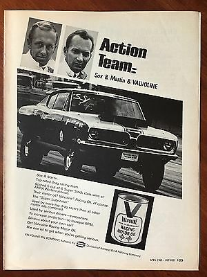 Vintage 1969 Original Print Ad VALVOLINE Motor Oil SOX & MARTIN ~Action Team~