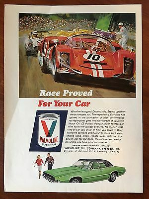 Vintage 1967 Original Print Ad VALVOLINE MOTOR OIL ~Race Proved for Your Car~