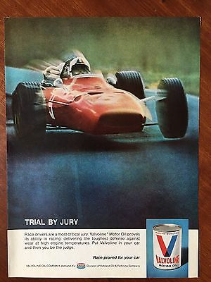 Vintage 1970 Original Print Ad VALVOLINE Motor Oil ~Trial by Race Car Drivers~