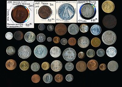 46 Mexico Latin & South America Old Coins Medals & Tokens > See Images > No Rsrv