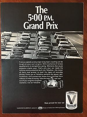 Vintage 1968 Original Print Ad VALVOLINE Motor Oil ~The 5:00 p.m. GRAND PRIX~