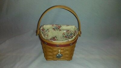 Longaberger 2001 Sweetheart Love Notes Basket Combo w/ Liner, Protector, Tie On