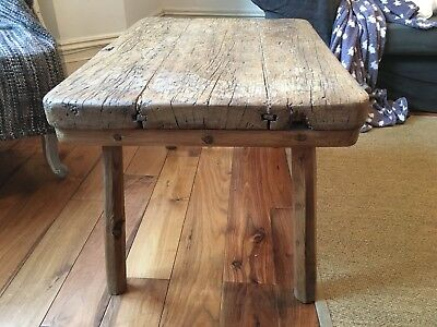 Antique Rustic Country Wooden Side/Coffee Table