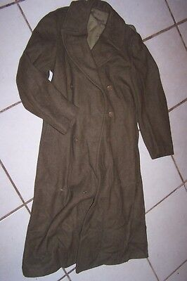 US Army WWII FULL LENGTH WOOL OVERCOAT w/Fu; Buttons,Liner