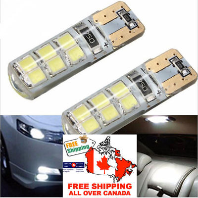 2x T10 W5W 12SMD 2835 LED Canbus Error Free Silicone Light Bulb Xenon 6000K