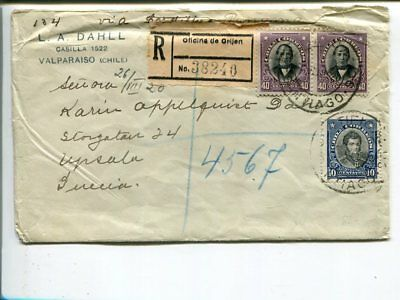 Chile reg cover to Sweden 1920