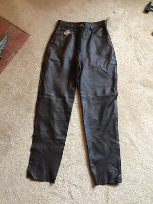 Ladies Brown Real Leather Trousers Size 12 Bnwt The Hudson Leather Co