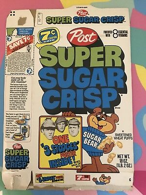 Vintage Rare '70's Post Cereal Super Sugar Crisp Offer Cereal Box TV NM
