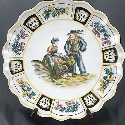 "19Th Century Henriot Quimper HB France Faience Couple & Game Bird 14"" Charger"