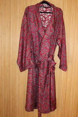 Vtg Paisley 100% Silk Mens Robe, Smoking Jacket, Dressing Gown Size L+
