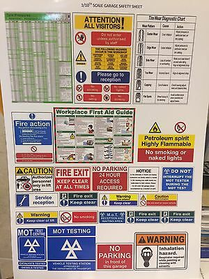 1/10 diorama garage signs posters safety signs   (sheet0037)