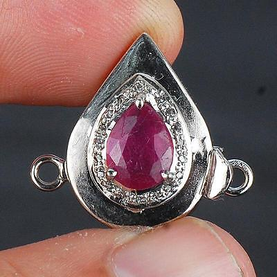 5.00 Gms Finest Red Top Quality Natural Ruby Diamond Clasp ~ 925 Sterling Silver