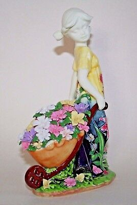 OLD TUPTON WARE FIGURINE SUMMER BOUQUET PORCELAIN GIRL with BARROW OF FLOWERS,
