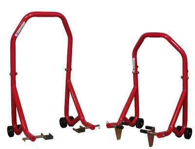 BikeTek Series 3 Red Front and Rear Stand Set Sport Bike Motorcycle Jack Stands