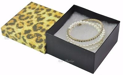 """Lot Of 100 Leopard Cotton Filled Box Jewelry Box Box Bangle Boxes Large 2""""h~Deal"""