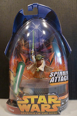 Star Wars - 2005 Revenge Of The Sith Yoda (Spinning Attack) Figure - Sealed!