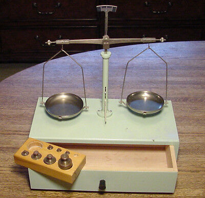 Mid-Century German Apothecary Gold Dust Pharmacy Scale/Balance with Troy Weights