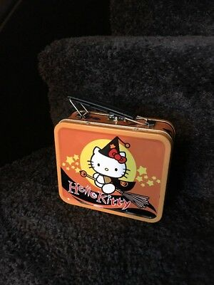 Hello Kitty Collectible Mini Tin lunchbox/ Purse/Carry all Halloween Witch Decor