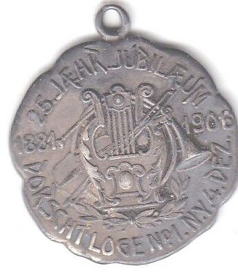 1881-1906 Dorscht Lodge No.1 New York  Silver Jubilee SILVER Medal - RARE!