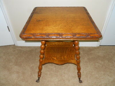 "Antique Tiger Oak ""Carved Top"" Center Table with glass ball in Iron claw feet"