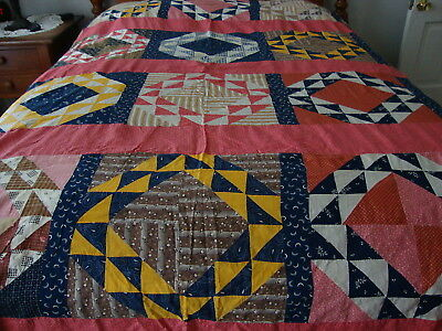 """Very Nice Vintage Quilt Top """"Great Colors"""""""