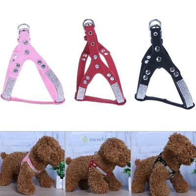 Ultra Fiber Pet Dog Crystal Rhinestone Chest Strap Harness Puppy Back Vest Lead