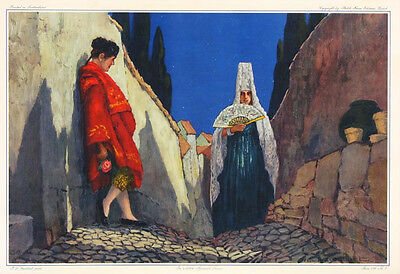 PAUL L. GUILBERT Vintage c1930s-40s Litho IN A LITTLE SPANISH TOWN Stehli Freres