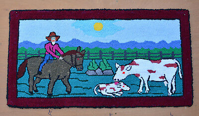 HOOKED RUG Primitive Quebec 20 x 37 Folk Art Hand Made COWBOY Cow Calf HORSE