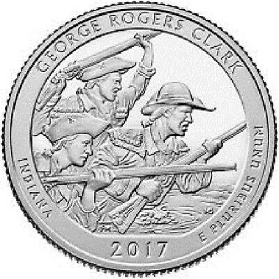 2017-P ,D,Indiana George Rodgers Clark National Park 2 Quarter Pre Sale