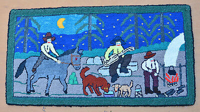 HOOKED RUG Primitive Quebec 20 x 37 Folk Art Hand Made SUMMER FIRE CAMP PARTY
