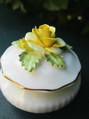 Royal Doulton Bone China Round Trinket/Pill Box Yellow Rose Made In England