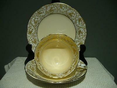 Paragon Bone China Heavily Gilt Peach & White Vintage Trio - Cup Saucer Plate