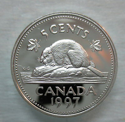 1997 Canada 5 Cents Proof Silver Nickel Heavy Cameo Coin