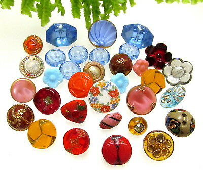 Lot Of 33 Vintage Colored Glass Buttons Some Diminutives T63