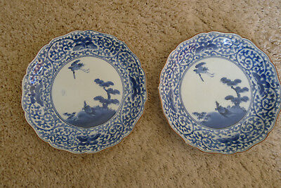 Lovely old Japanese Edo period pair of blue and white Kakiemon Kin plates