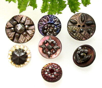 Wonderful Lot Of Victorian Carved Pearl Buttons With Cut Steels T95