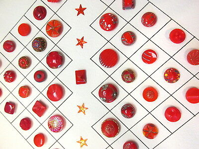 Collector Card Of 43 Vtg Red Glass Buttons With Different Designs