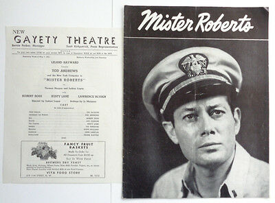 """1951 Tod Andrews in """"Mister Roberts"""" Program and Gayety Theatre Insert"""