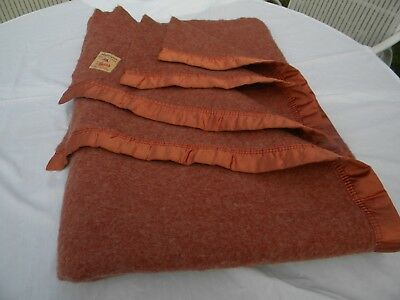"Vtg Copper Color Ayers Of Lachute Ayerspun Pure Wool Blanket 58X 79""  Canada"