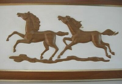 RARE Vtg 46 x 23  HORSES Dimensional TURNER Wall HANGING Art  MCM Ranch Decor