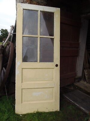 Victorian Exterior House Door Raised Panel 4 Pane Glass 78 x 32