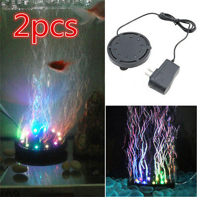 2x Colorful Underwater Aquarium Fish Tank LED Bubble Lights Lamp Submersible KP