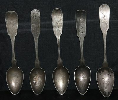 Lot of 5 Early Coin Silver Spoons S. Richards 1767, H.K. Newcomb