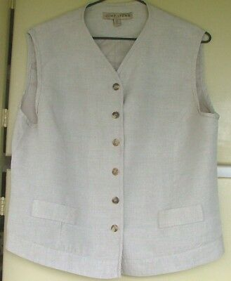 """""""jump"""" ~ Fawn Linen Vest ~ Fully Lined ~ Size 14"""
