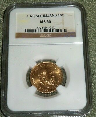 1875 NETHERLANDS GOLD 10 Gulden CERTIFIED NGC MS66 SUPERB GEM PROOF LIKE FIELDS!