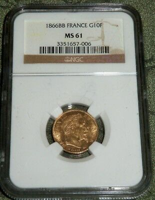 France 1866 Bb Uncirculated Gold 10 Francs, Napolian Iii, Scarce Ngc Ms-61 Gem !