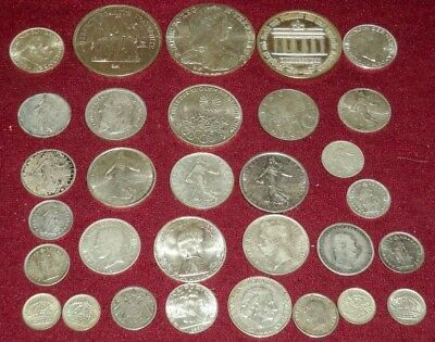 LOT of 32 EUROPEAN FOREIGN SILVER COINS, HIGH SILVER CONTENT, OVER 250 Gms. TW !