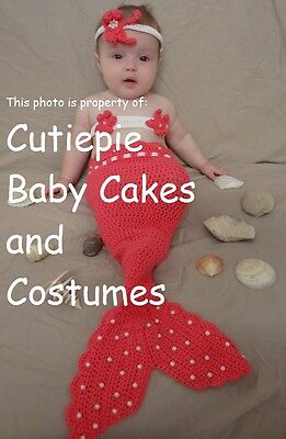 Hand-finished Pink Mermaid Baby Crochet Costume Photography Prop Great Baby Gift