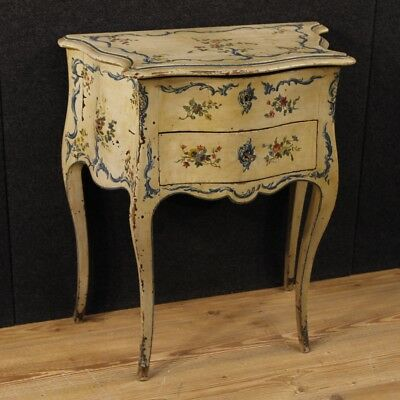French side table lacquered paint wood night stand dressing table antique style